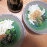 山芋とろろと冷凍ほうれん草鰹節サラダ