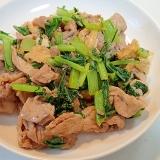 豚肉とあげと小松菜の麺つゆマヨ炒め♪