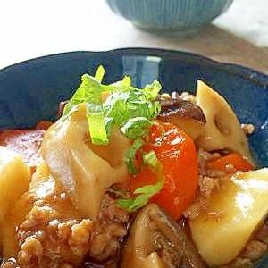 根菜とそぼろの炒め煮あんかけ