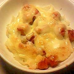菊芋とソーセージのグラタン風マヨネーズ・チーズ焼き