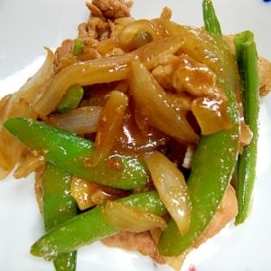 豚肉とスナップエンドウの味噌炒め