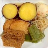 蕗、さつま芋、しらたき、厚揚げ、さつま揚げの煮物