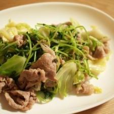 豆苗・キャベツ・豚肉の中華炒め