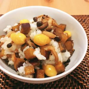 秋 サツマイモ、銀杏としめじの混ぜご飯