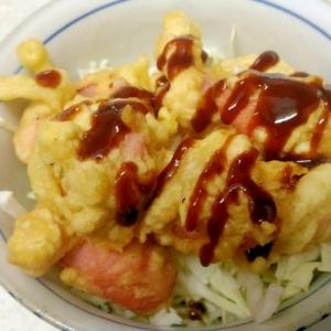 魚肉ソーセージのフライ丼