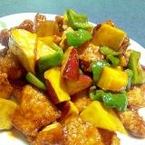 鶏肉&ピーマン&サツマイモの甘辛炒め