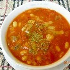 大豆と牛肉のトマトスープ