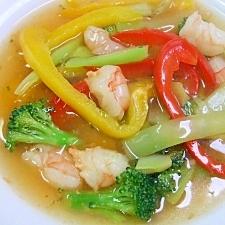 エビ、パプリカ、ブロッコリーのとろみスープ