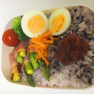 ゆで卵とアスパラベーコン巻き弁当