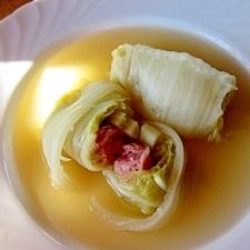 ウィンナーin白菜ロールのコンソメスープ