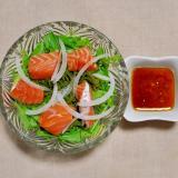 サーモンとめかぶと水菜のサラダ