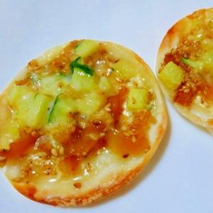 餃子の皮de中華くらげピザ