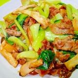 チンゲン菜とエリンギ豚肉の中華炒め