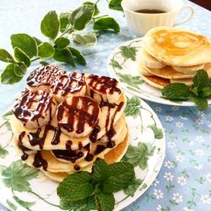 ボリューム満点♪豪華☆チョコバナナパンケーキ