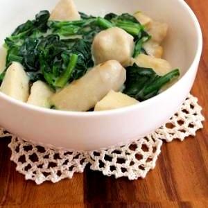 里芋とほうれん草のクリーム煮