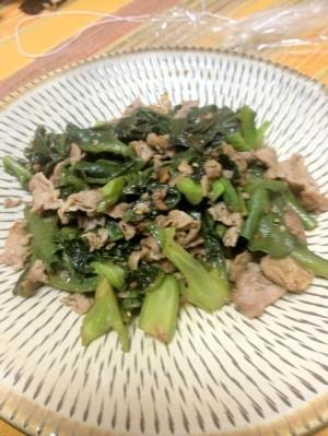 蔓紫と豚肉のナンプラー炒め