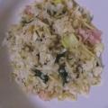 ウィンナーと小松菜としめじの塩レモンのそば飯