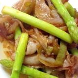 アスパラと豚の中華炒め