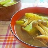 ナス・しめじ・青梗菜の味噌汁