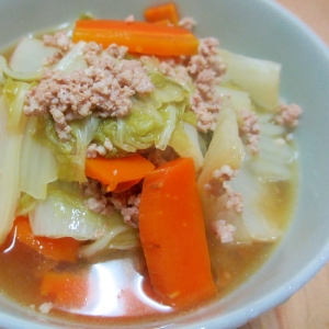 圧力鍋でひき肉と白菜の煮浸し