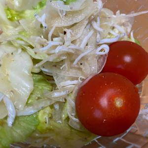 しらすと新玉ねぎとレタスとミニトマトのサラダ