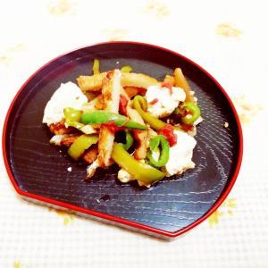梅風味♪ピーマンと角天の豆腐炒め