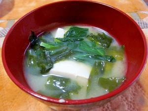 小松菜・豆腐・わかめの味噌汁