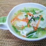 みぶ菜の漬け物と餃子のスープ