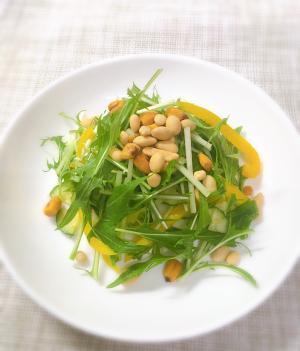 ビタミンたっぷり♡水菜とパプリカのナッツサラダ