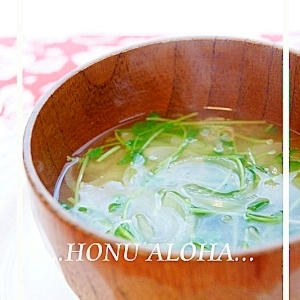 豆苗と玉ねぎの味噌汁