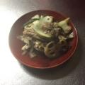 青梗菜と蓮根と舞茸の肉味噌炒め