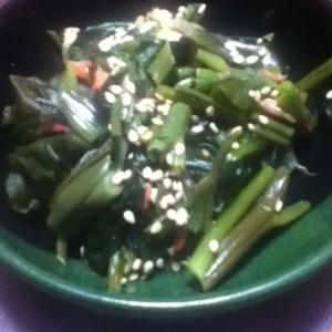 空芯菜と桜海老とワカメのポン酢和え