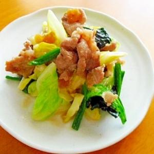 豚肉ときゃべつとほうれん草のふき味噌炒め