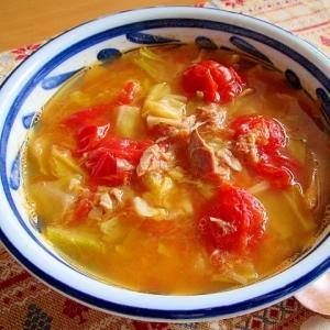 トマト・ツナ・きゃべつのスープ