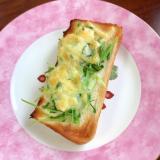 豆苗のマヨネーズチーズトースト