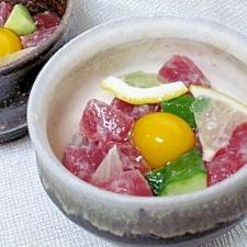 レモン風味の小鉢☆ 「鮪と胡瓜のタルタル」