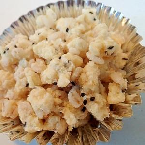 押し麦とおからの鶏がら塩糀マヨオオバコ炒め♪