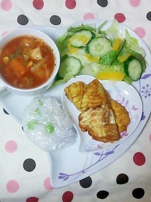 塩レモンのミネストローネと鯛のヘルシープレート♥