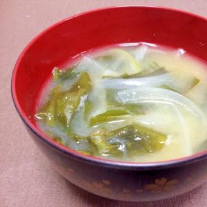 玉ねぎとわかめの味噌汁