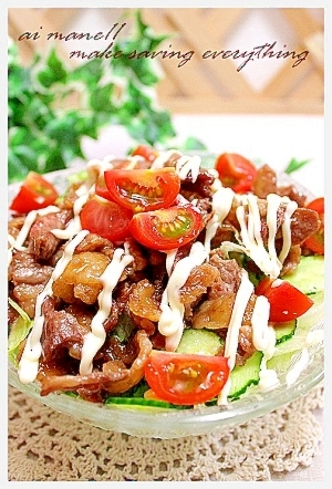 レタスとビーフサラダ