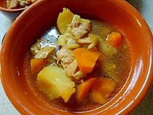 圧力鍋で 和風チキンカレースープ