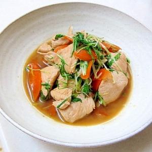 鶏肉と水菜のにんにく炒め