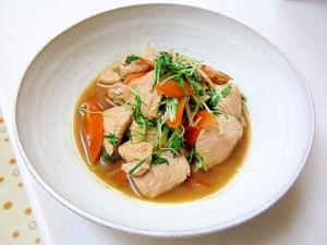 *とり肉と水菜のにんにく炒め*