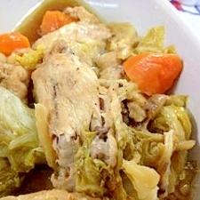 プルッ!ポロ! 圧力鍋で、骨付きチキンと白菜の煮物