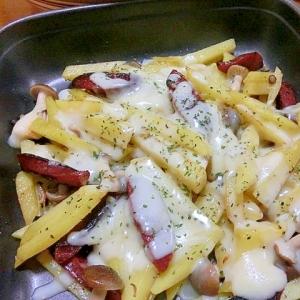 レンジを活用 じゃがいも&サラミのチーズ焼き