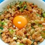 納豆の食べ方-生玉子&きゅうり漬物♪