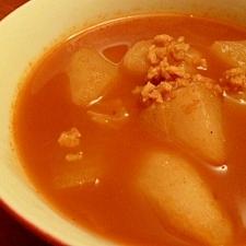 大根と大豆ミートの和風カレースープ☆ノンオイル