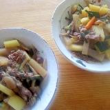 豚肉と蒟蒻の葱肉じゃが人参煮