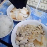 長芋とキノコの炒め物