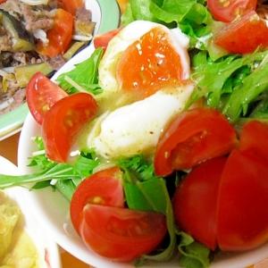ミディトマトと温泉卵のグリーンサラダ